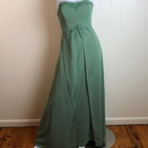 Alfred Angelo Green Beaded Prom Bridesmaid Gown